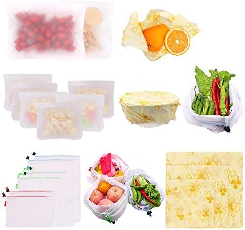 Beeswax Food Wrap 3 Pcs Reusable Sandwich Bags 2 Large 6 Medium Reusable Produce Bags 2 Large product image