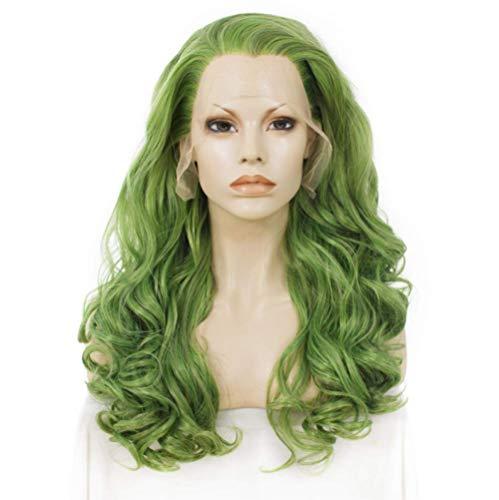 AHJSN Grüne Perücke Synthetische Lace Front Perücke Wellenförmige Lange Perücken Für Frauen 24 Zoll Natürliches Haar Hitzebeständig