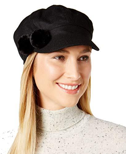 AUGUST HAT COMPANY Women's Pom Pom Newsboy Cap Black One Size
