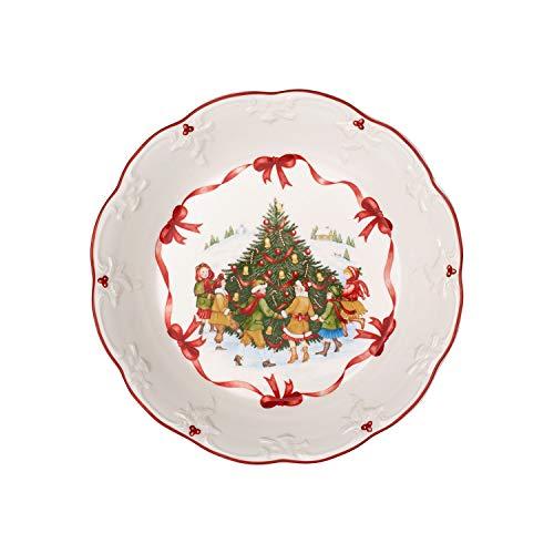 Villeroy & Boch - Toy's Fantasy Grande Coupe, Danse Autour du Sapin, Coupe pour Biscuits, Porcelaine Premium, Rouge, Multicolore, 24 x 24 x 4,5 cm