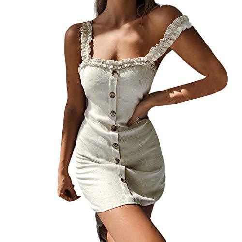 SANFASHION Damen Maxikleider,Frauen Sexy Frauen Gurt Slip Ruffle Gingham Button A-Linie ärmellose Kleider