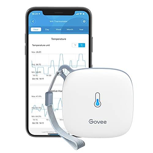 Govee WLAN Thermometer Hygrometer Innen, Wi-Fi Thermo Hygrometer mit App Benachrichtigung und Datenspeicherung, geeignet für Gewächshaus, Weinkeller, weiß