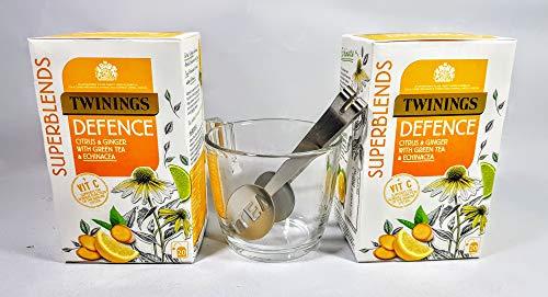 Citrus & Jengibre Infusión de hierbas con té verde, equinácea y vitamina C 40 bolsitas de té. Cuchara y taza