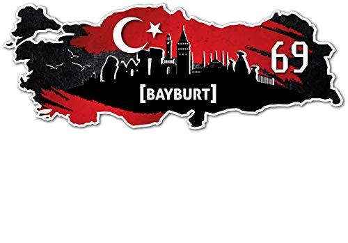 Aufkleber Sticker Türkei 69 Bayburt Motiv Fahne für Auto Motorrad Laptop Fahrrad