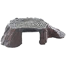 emours Tree Stump Turtle Hideout Resin Basking Rocks Bearded Dragon Accessories Reptile Amphibian Fish Tank Decor Small