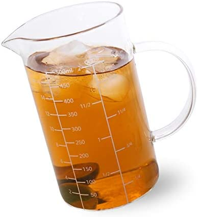 Newness Glass Measuring Cup with Handle 500 ML 0 5 Liter 2 Cup Measuring Cup with Three Scales product image