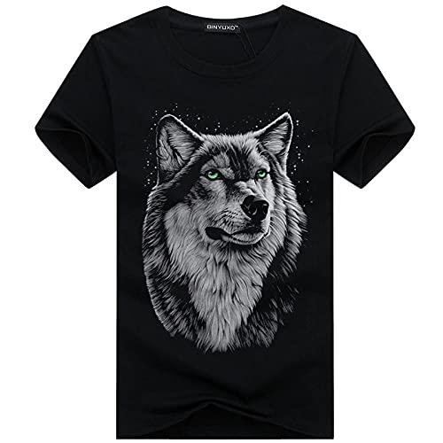LYWZX Camisetas Hombre Camiseta De Verano De Manga Corta para Hombre Más Gordo Talla Grande Camiseta De Media Manga para Jóvenes Cuello Redondo Casual 3D Cabeza De Lobo Negro 4XL