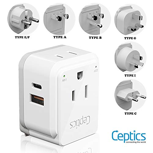 World Travel Plug Adapter Set by Ceptics, Safe Dual USB & USB-C 3.1A - 2 USA Socket - Compact & Powerful - Use in Europe, Asia, Australia, Japan - Includes Type A, B, C, E/F, G, I Swadapt Attachments