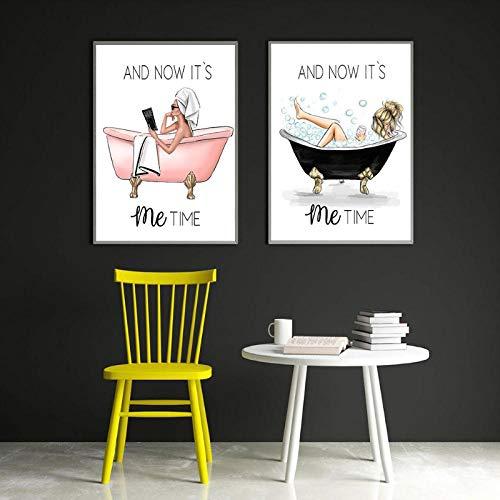 Terilizi Es ist Mir Zeit Poster en afdrukken Vogue Meisjes op de badkuip afbeelding aan de muur voor woonkamer in Scandinavische stijl Decoratie metaal 50 x 70 cm x 2 geen lijst
