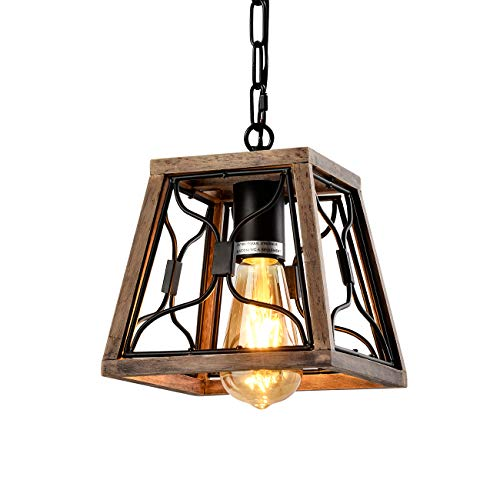 HYAS Vintage Farmhouse Pendant Light Fixture,Square Rustic Single Rustic Chandelier, Industrial Adjustable Height Lantern Pendant Light for Kitchen Island Dinning Room Living Room