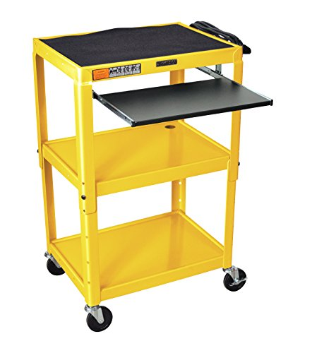 "Yellow Luxor Avj42Kb-Yw Mobile Computer Cart / Workstation 24"" X - AVJ42KB-YW"