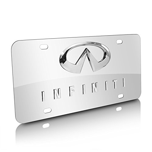 iPick Image - 3D Logo on Mirror Chrome Stainless Steel License Plate for Infiniti Dual 3D Logo