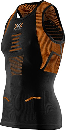 X-Bionic T-Shirt Running on The Trick Ow Singlet Course Chemise, Homme, Running Man The Trick Ow Singlet, Black/Orange Shiny