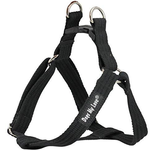 Cotton Web Adjustable Dog Step-in Harness 4 Sizes Black (Medium: 12