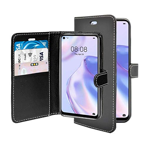 Funda para Huawei P40 Lite 5G Negro Billetera Flip PU Cuero Soporte Ranura Tarjeta Compatible Con Huawei P40 Lite 5G Funda Teléfono Cover