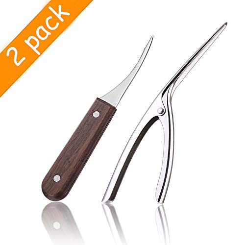 Aidragon Shrimp Deveiner Tool and Shrimp Peeler Set, 2 Pcs Stainless Steel Kitchen Tools for Shrimp Cleaner Peels Prawn Outer Shell Deveins