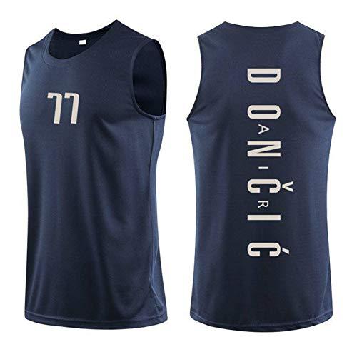 ZGLZ 77# DǒN̈ČIć Jersey MǎVěrickš Jugador Juvenil Camisetas T-Shirts Gimnasio Chaleco Deportivo Top sin Mangas Hip Hop Ropa para Fiesta Unisex Dark Black-XL
