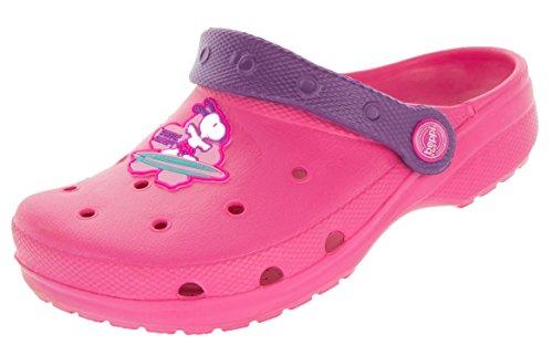 Beppi Kinder Clogs Schuhe | Rosa Kinderschuhe Snoopy Motiv | Strandschuhe Badeschuhe Hausschuhe Kindergarten Spielschuhe | Gartenschuhe für Mädchen | Größe 20