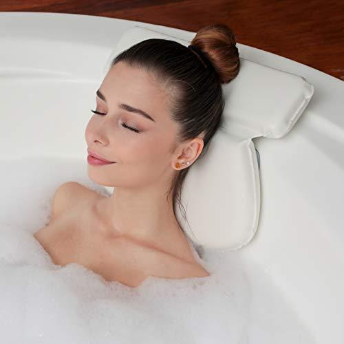 Luxe Bad kussen Met 7 Anti-Slip Zuignappen | Orthopedisch Hoofd, Nek & Schouders Steun | Heerlijk Voor In Bad En Jacuzzi | Badkussen voor home spa | Waterdicht & Wit Nekkussen
