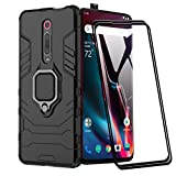 XIFAN Funda para Xiaomi Mi 9T, [Robusto] Anillo Metálico Soporte [Funciona con El Montaje De Coche Magnético] Case Carcasa, Negro + 2 Piezas Protector de Pantalla