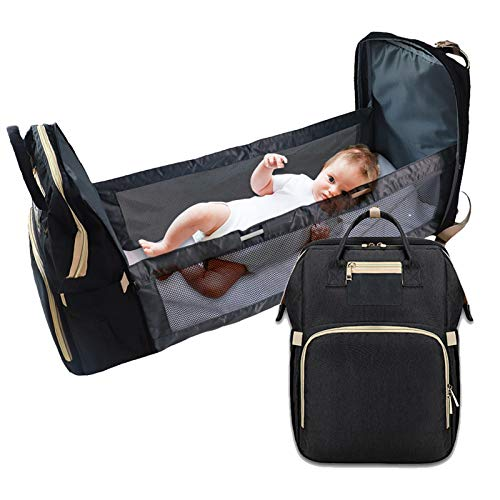 Diaper Bag with Travel Bassinet Foldable Baby Bed Portable Diaper Changing Station Mummy Bag Backpack 3 in 1 Nappy Bag Changing Station for Men Women, Travel Crib Infant Sleeper