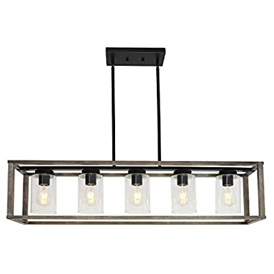 VINLUZ 5-Light Wood Chandelier Linear Industrial Kitchen Island Pendant Lighting Gray Wooden Frame Accents, Dining Room Lighting with Glass Shade Modern Farmhouse Light Fixtures for Entryway Foyer