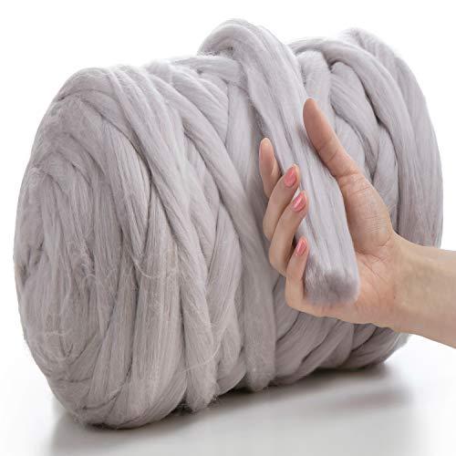MeriWoolArt 100% Merinowolle zum Stricken & Häkeln mit 4-5 cm dickem Garn | dicke Merino Wolle für XXL Schal, Decke & Kissen (Satingrau, 4.5Kg Knäuel)