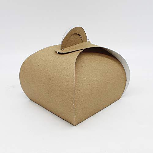 100 Stück Konditorbox Kuchenbox Tortenkarton Kuchenkarton Transportbox, 13x13x10cm, mit Griff, Pappe, Braun, Eco Life / Umweltfreundlich
