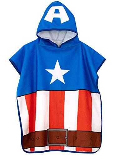 Marvel Poncho de Toalla con Capucha para Niños Captain America