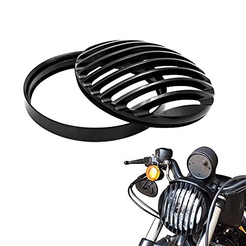 5 3/4' Black Aluminum Headlight Grill Cover for Sportster Roadster XL1200R XL883 883 Custom XL883C/XL1200C Low XL883L/XL1200L Iron 883 XL883N