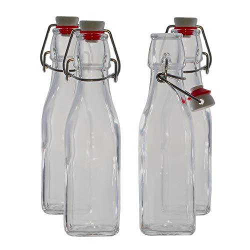 Bormioli Rocco Swing Top Glass Bottles, 8.5 Ounce - Set of 4