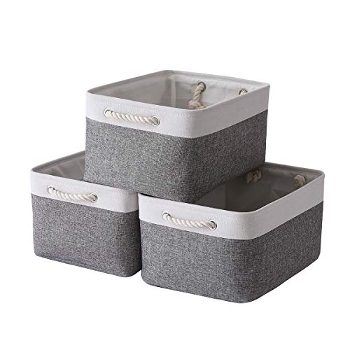 Sacyic Large Storage Baskets for Shelves, Fabric Baskets for Organizing, Collapsible Storage Bins for Closet, Nursery, Clothes, Toys, Home & Office [3-Pack, White&Grey]