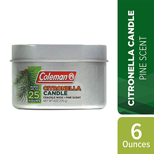 Coleman Pine Scented Citronella Candle with Wooden Crackle Wick - 6 oz Tin