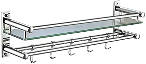 Yxsd Badkamer Plank 7mm Glazen Plank met Handdoekenrek Badkuip Wandmontage Tub Rechthoekige Douche Organizer Mand Badkamer...
