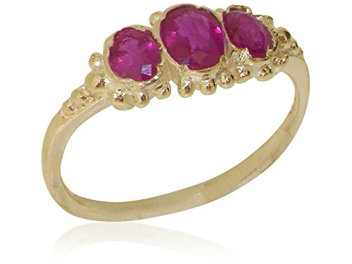 Solid 9ct Yellow Gold Natural Ruby Trilogy Ladies Vintage Style Band Ring - Size Q