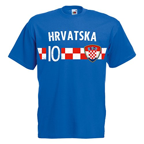 Fußball WM T-Shirt Fan Artikel Nummer 10 - Weltmeisterschaft 2018 - Länder Trikot Jersey Herren Damen Kinder Kroation Hrvatska Croatia L
