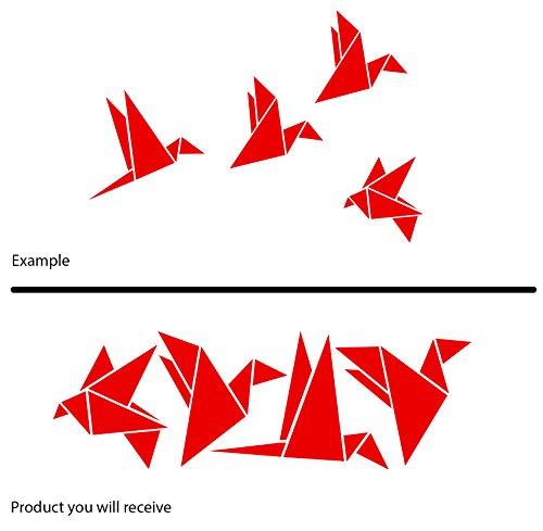 ThatVinylPlace - Adesivo laterale per automobile, con 4 romantici origami uccello, in materiale vinilico per decorazione, disponibile in 18 colori, ideale per bagno/cemeretta dei bambini/auto/finestre/pareti, 20 x 60 cm Red