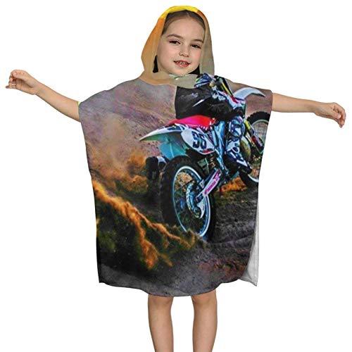 IUBBKI Motocross Moto Bike Toalla de baño con Capucha para niños Toalla de baño de Playa de algodón Suave