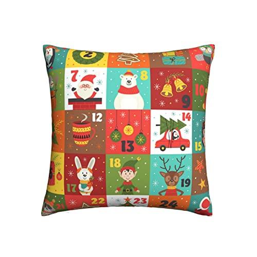 MSJS Calendario de Adviento con personajes navideños Fundas de almohada decorativas de 22 x 22 pulgadas, fundas de almohada cuadradas para el hogar, sofá, dormitorio, sala de estar