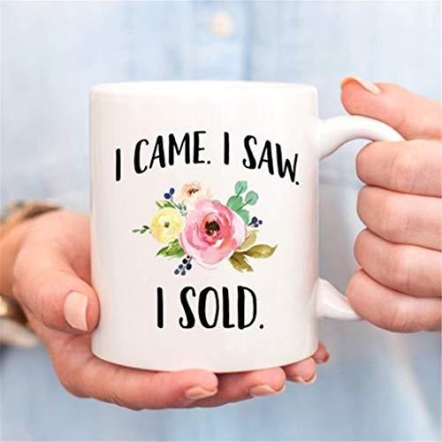 """Taza con texto en inglés """"I Came I Saw I Seld"""", taza de agente de bienes raíces, regalo para agente de bienes raíces, regalo de ventas, cierre de casa"""