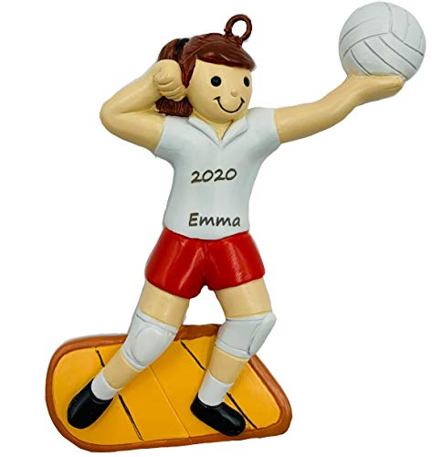 Personalized Player Playing Sports Volleyball Christmas Ornament 2020 Girl Brunette