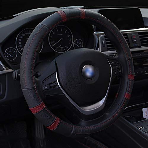 Housse De Volant De Voiture Cuir D'été Diamètre 38Cm Enjoliveur De Roue Respirant Confortable Four Seasons Universal,Red