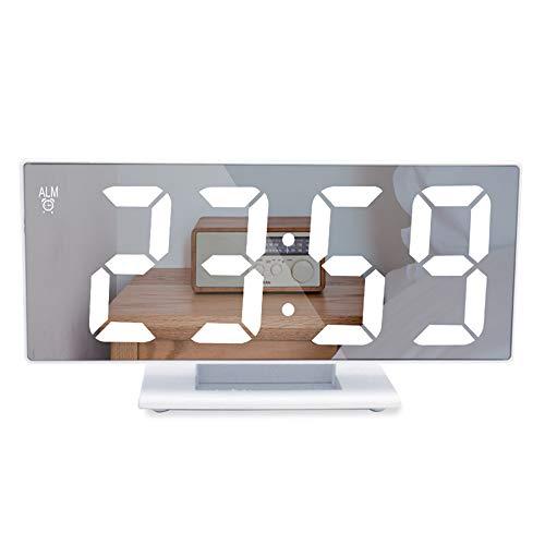 Litthing Reloj de Espejo Digital Mute LED Reloj Despertador Electrónico Moderno con Función Snooze Ajustable 12 24 Horas para hogar, Oficina y Viajes