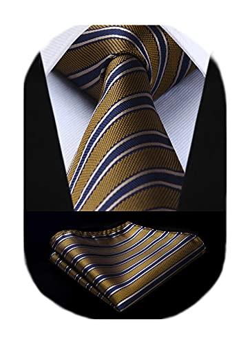 BIYINI Corbata Dorada y Negra de Hombre Niño Corbata Rayas & Panuelo,Corbata y Plaza de bolsillo Conjunto Corbatas para Boda Fiesta Regalo de Cumpleaños