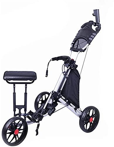 TUHFG Carrito de Golf Trolley 3 Ruedas Golf Push Carrito Giratorio Plegable 3 Rueda Push Pull Cart Carretilla de Golf con Siller Marcaraja Bolsa Golf Push Cart