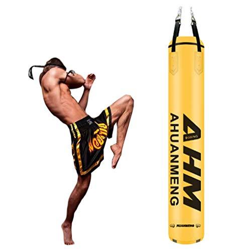 GYPPG Boxsack Gefüllter Schwerer Boxsack, hängender hohler Box-Boxsack aus PU-Mikrofaser-Leder, für MMA Muay Thai-Trainingsgeräte (Farbe: gelb, Größe: 180 cm)
