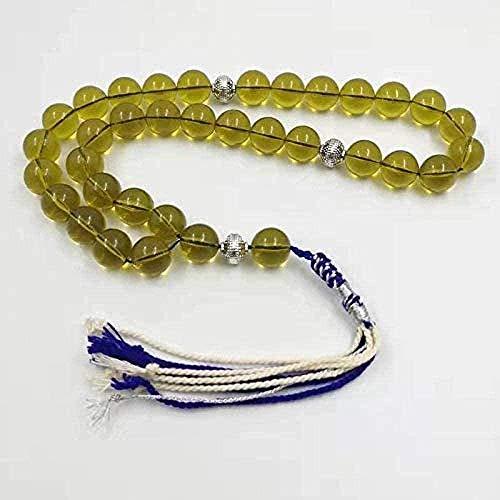 LBBYMX Co.,ltd Collar Color Ámbar Color Musulmán Resina Pulseras Islam Hecho a Mano Rosario Kuwait 33 Cuentas de oración