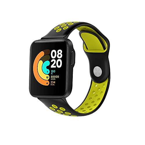 PaceBid Cinturino Compatibile con Xiaomi Mi Watch Lite, Regolabile Cinturino di Ricambio, Morbido, Traspirante, Resistente al Sudore Sport in Silicone Cinturino per Xiaomi Mi Watch Lite-(Black-Yellow)