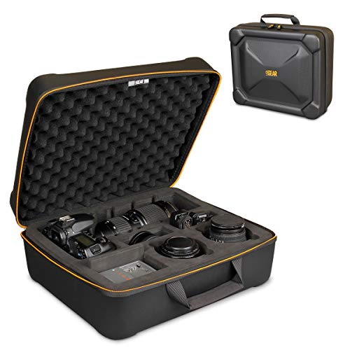 USA Gear HXS Hard Shell SLR Case with Rugged EVA Exterior, Removeable Dual-Layered Foam Tray and Egg-Crate Foam Top Cover - Compatible with Nikon, Canon, Sony, Olympus and More
