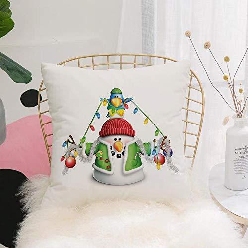 Purer Weicher Kissenbezug Kissenhülle Set,Schneemann, Wunderliche Zeichentrickfigur mit Weihnachtsgirl,Sofakissen Lendenkissen Wurfkissenbezug mit Verstecktem Reißverschluss Schlafzimmer Auto 45x45cm